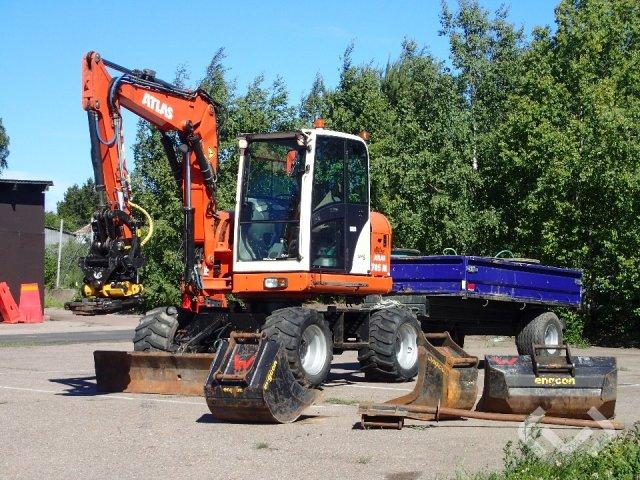 Terex / Atlas 705M Hjulgrävare med kärra & redskap - 04