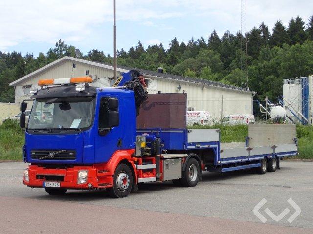 Volvo FL 4x2 Dragbil (kran) (+maskintrailer med lämmar) - 12