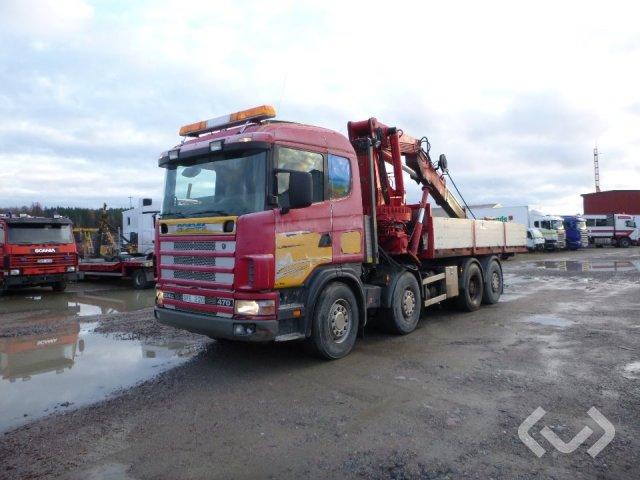 Scania R124GB NB470 8x2*6 Lastväxlare (flak med kran) - 02